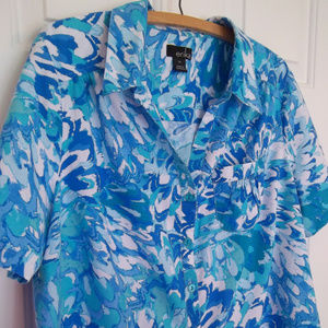 Erika Blue and White Button Up